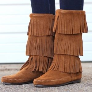 Minnetonka Three 3 Layer Brown Suede Fringe Boots